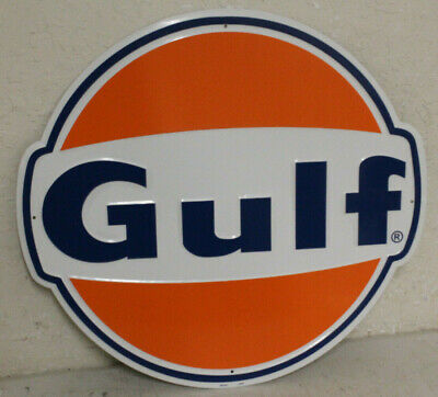 """Large Vintage Style 24"""" Gulf Gas Station Signs Man Cave Garage Decor Oil Can"""