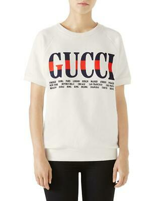 Gucci Ivory Logo Cities Print Cotton Short Sleeve Sweatshirt/top Size S $1,100