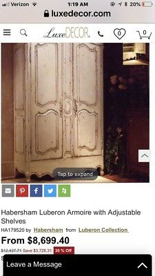 Habersham Armoire Luberon French Country Style In A Vanilla Distressed Finish