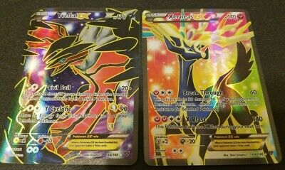 FULL ART Yveltal + Xerneas EX ULTRA RARE 144/146 XY Base Set Pokemon Holo - LP