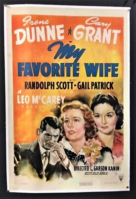 My Favorite Wife  Movie Poster Cary Grant - Irene Dunne    *hollywood Posters*