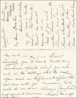 Andrew Carnegie - Autograph Letter Signed 12/22/1897