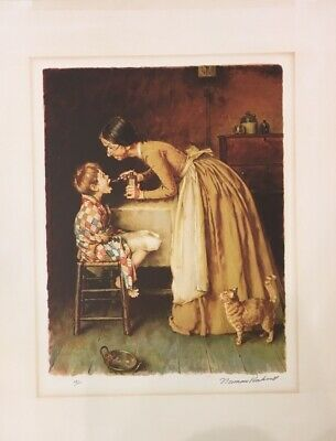 "Norman Rockwell ""medicine"" Original Lithograph On Paper Hand Signed A/p Coa"