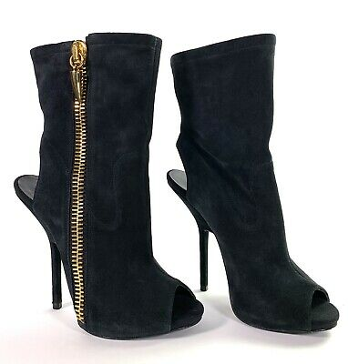 Giuseppe Zanotti Black Suede Alien Open Toe Cut Out Ankle Boots Sz 38 - Us 7.5