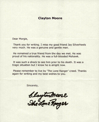 "Clayton ""the Lone Ranger"" Moore - Typed Letter Signed"