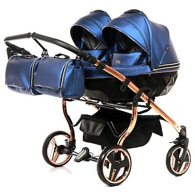 Premium Twin Pram Junama Fluo Line Duo Blue + Rose Gold Double Buggy Baby Twins