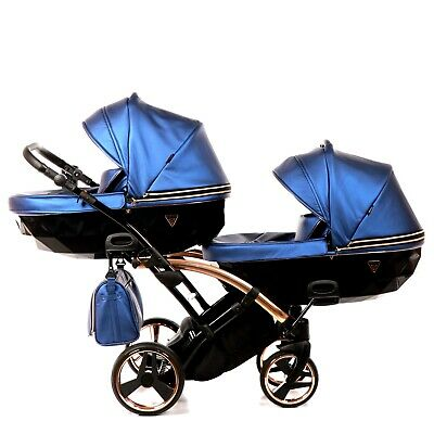 Luxury Twin Pram Junama Fluo Line Duo Slimblue+rose Gold Double Buggy Baby Twins