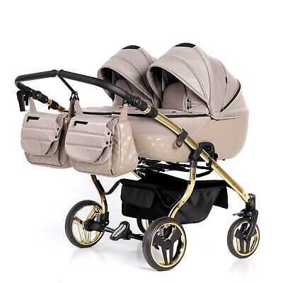 Premium Twin Pram Tako Laret Imperial Duo Beige + Gold Double Buggy Baby Twins
