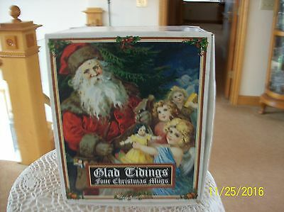 """Dunoon Vintage Post Card Style Four Christmas Mugs """"glad Tiding"""