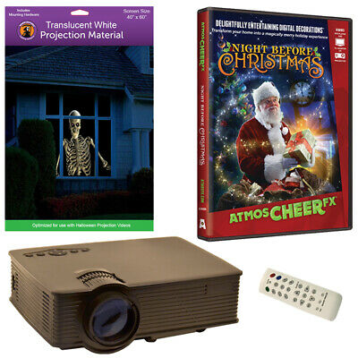 Atmoscheerfx Night Before Christmas Dvd + High Resolution Screen + Led Projector
