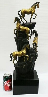 100% Solid Bronze 4 Walking Horsed Limited Edition Sculpture Marble Base Statue