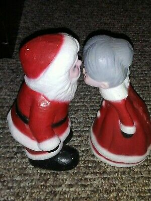 Vintage Cement Santa And Mrs. Claus Kissing Christmas Figurines Hand Painted