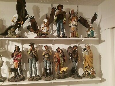 Native Eagle And Cowboy Statue Collection