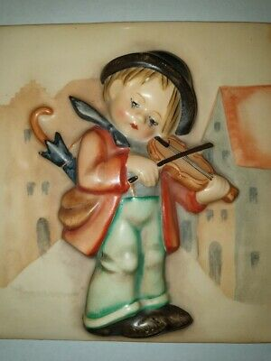 Hummel 107 Little Fiddler  Wall Plaque Double Crown Tmk1 Extremely Rare