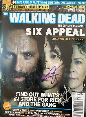 The Walking Dead Magazine Signed By Andrew Lincoln, Melissa Mcbride, Steven Yeun