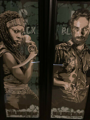 Two The Walking Dead Screen Print Posters - Michonne & Rick - Signed