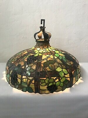 Rare 1910s Judson Studios Slag Glass Shade With Custom Mold For Chandelier Lamp