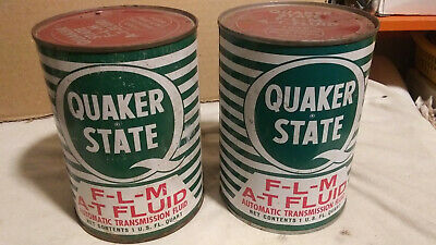 2-. Vintage Full Quaker State F-l-m-a-t  Automatic Transmission Fluid Oil Can