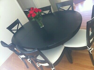 """Crate & Barrel Avalon 45"""" Dining Table & 6 Vintner Chairs Used"""
