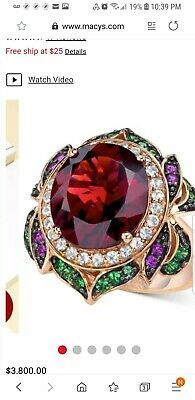 Le Vian Big Garnet Ring From Crazy Collection. Size 10, Hard To Find. New