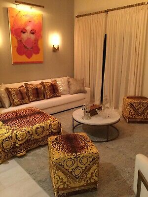 Set Of3 Pillows Plus Large Versace Custom Made Throw Baroque Gold Bronze