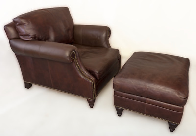 vintage and restored ralph lauren chilton leather lounge chair and ottoman
