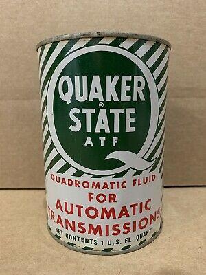 Quaker State Automatic Transmission Fluid Quart Metal Oil Can Atf Gas Full