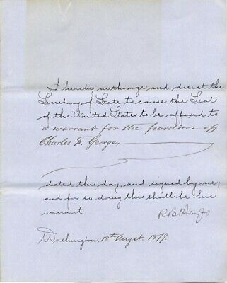 Rutherford B. Hayes - Presidential Warrant Signed 08/18/1879