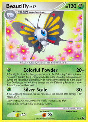 Platinum Non-Holo Rare Beautifly 21/127 Pokemon Trading Card LP / NM