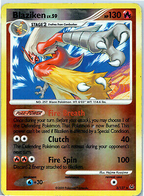 Platinum Reverse Holo Blaziken 3/127 Pokemon Trading Card MP / HP