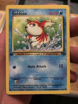 Goldeen - 53/64 - Common - 1st Edition Jungle Pokemon Card Played