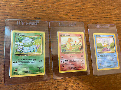 Squirtle Bulbasaur & Charmander Pokemon Cards | Base Set | Rare Vintage Find!