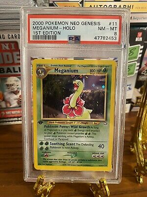2000 Pokemon Neo Genesis 1st Edition Holo Meganium #11 PSA 8 NM-MT