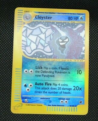 Cloyster Holo Rare Pokemon Card Expedition Base Set 8/165- Near Mint