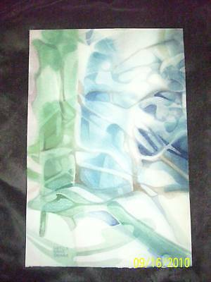Lucille Davis Grim Painting Abstract Watercolor Old Rare Original Vintage Nice