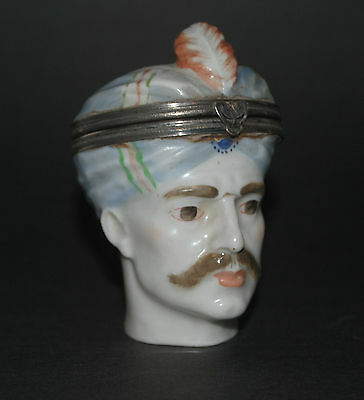 Rare Antique French German ? Porcelain Novelty Figural Turk Head Pill Snuff Box