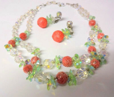 Vintage Crystal Aurora Borealis Cherries Necklace Clip On Earrings Set