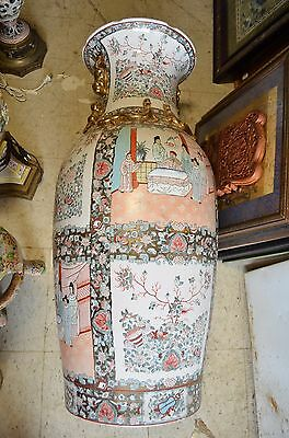 "Large Chinese Antique  Famille Rose Porcelain Chinese Vase 36"" And Signed"