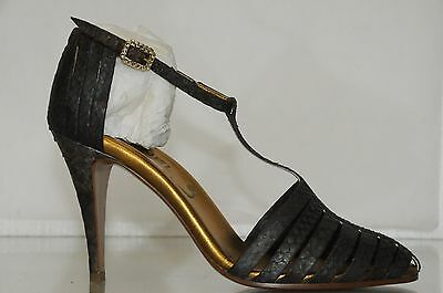 $2070 new chanel python crystal buckle ankle strap strappy heels shoes 38.5
