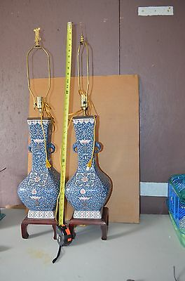 Pair Chinese Antique 19th Century  Famille Rose Table Lamp Bats