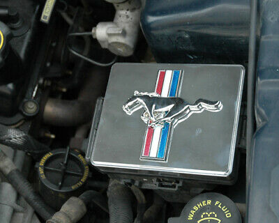 1998-2004 Mustang Polished Chrome Fuse Box Cover W/ Tribar Running Horse Emblem