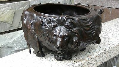 Antique 18c Japanese Bronze Large Jardinier W/relief Animals(lions,elephants,etc