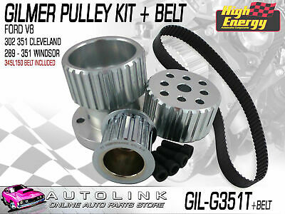 Gilmer Pulley Kit & Belt Suit Ford 289-351 Windsor V8 Falcon Xr Xt Xw Xy