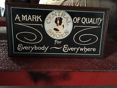 1913 Central Shoes Punched Tin Sign Display,w/ Porcelain Housing,the Macsavaney