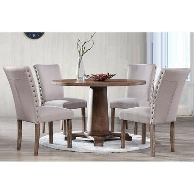 Contemporary Design Antique Oak Finish Table & Taupe Linen Fabric Chairs 5pc Set