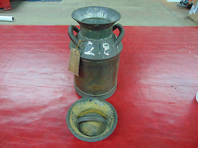Antique Buhl Dairy Milk Can 10 Gallon Old Farm Riveted Seam Lid Vintage 1900