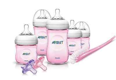 Philips Avent Natural Infant Baby Bottle Starter Set, Pink