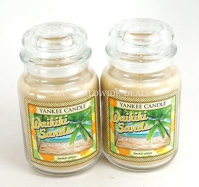 New Lot Of 2 Yankee Candle Limited Edition Waikiki Sands Large 22 Oz Jar Candles