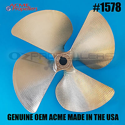 "1578 Acme Ski Wake Boat Propeller 13.5 X 14.25 Prop (4blade) 1 1/8 "" Right Hand"