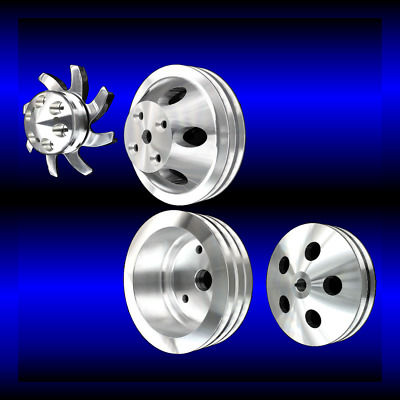 Billet Small Block Chevy 4 Pulley Set For Long Wp Alt Ac And Ps 283 327 350 400